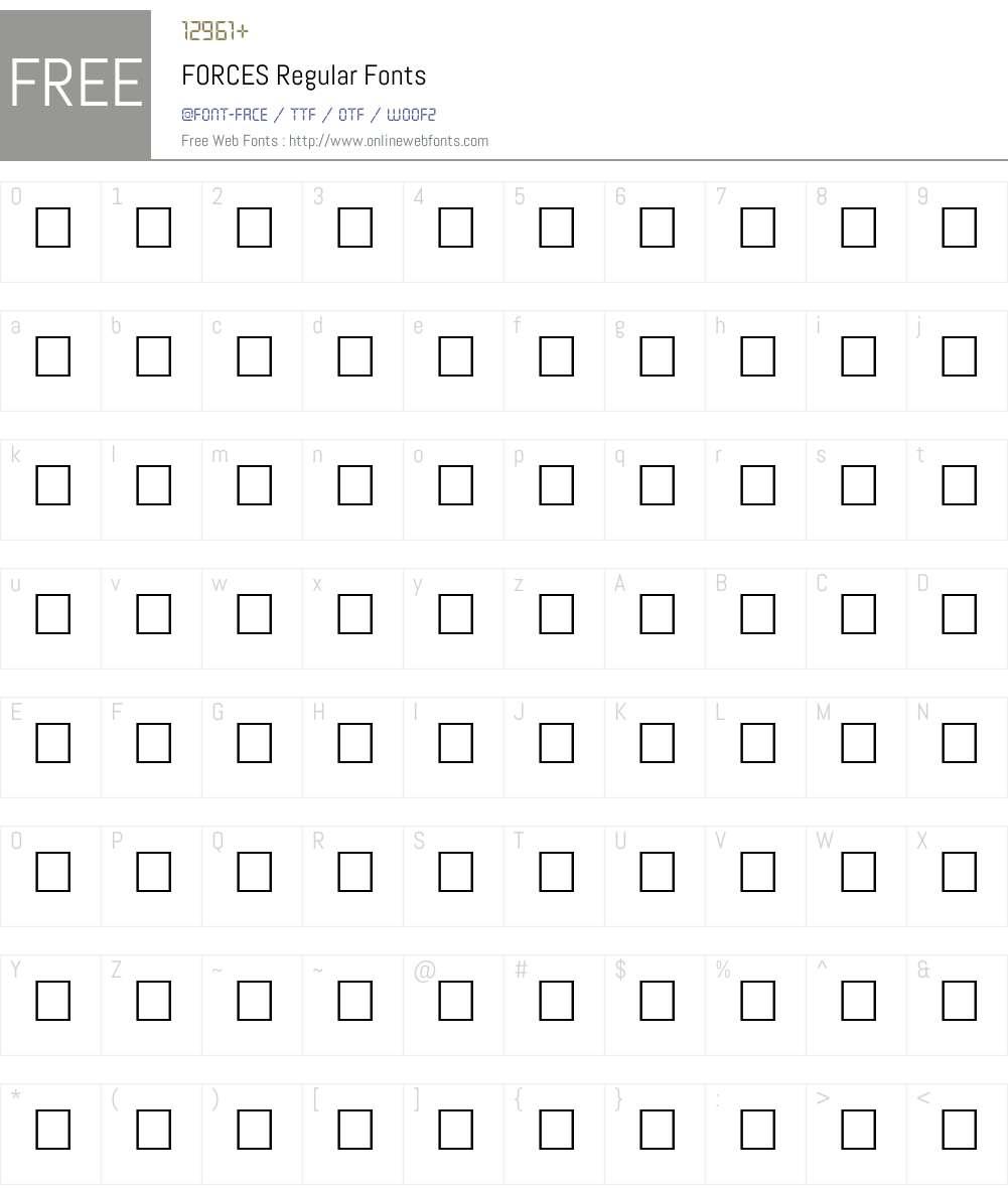 FORCES Font Screenshots