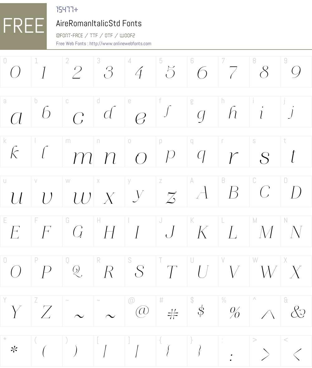 Aire Roman Italic Std Font Screenshots