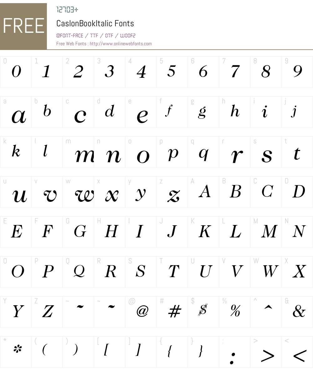 Caslon Font Screenshots