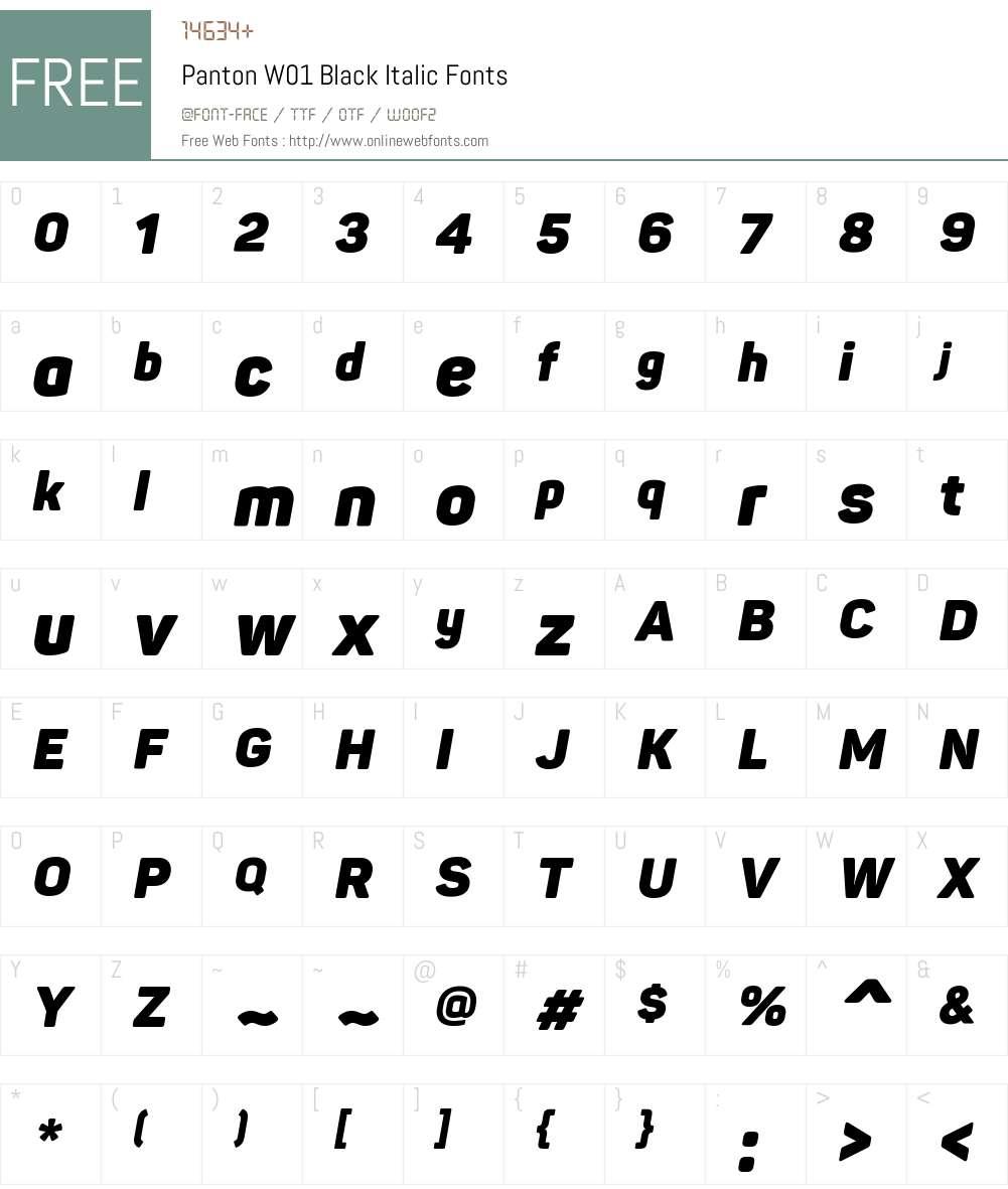 PantonW01-BlackItalic Font Screenshots