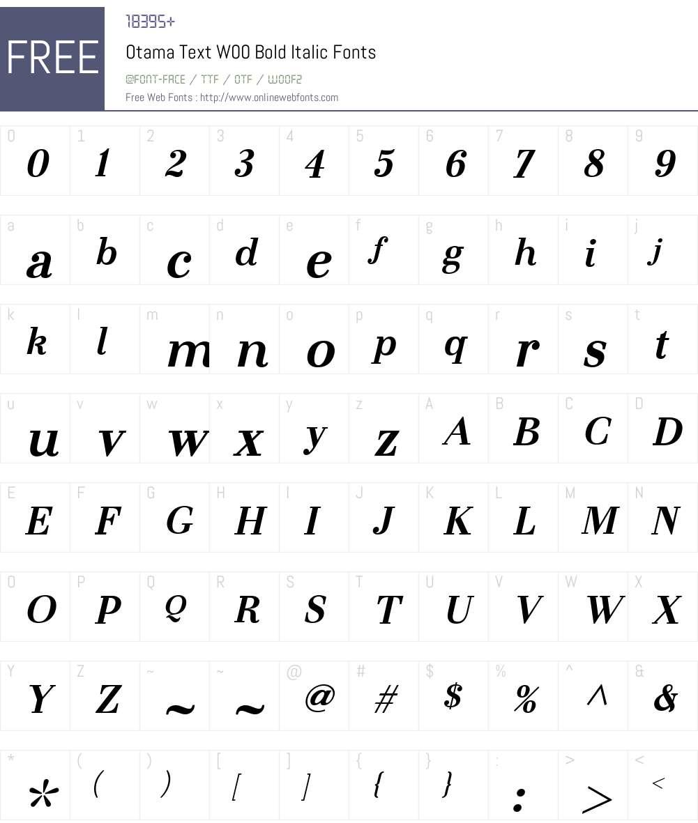 OtamaTextW00-BoldItalic Font Screenshots
