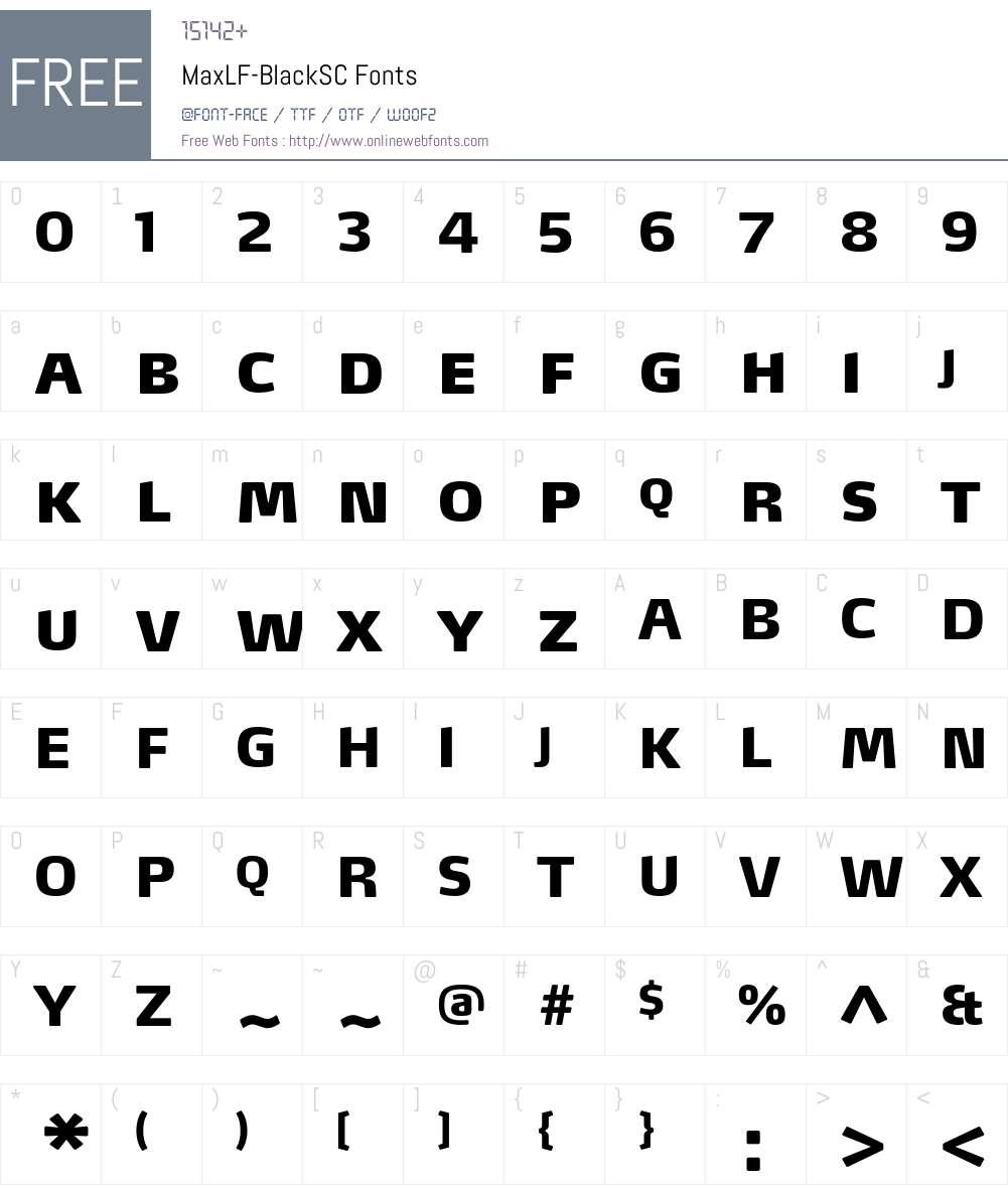 MaxLF-BlackSC Font Screenshots