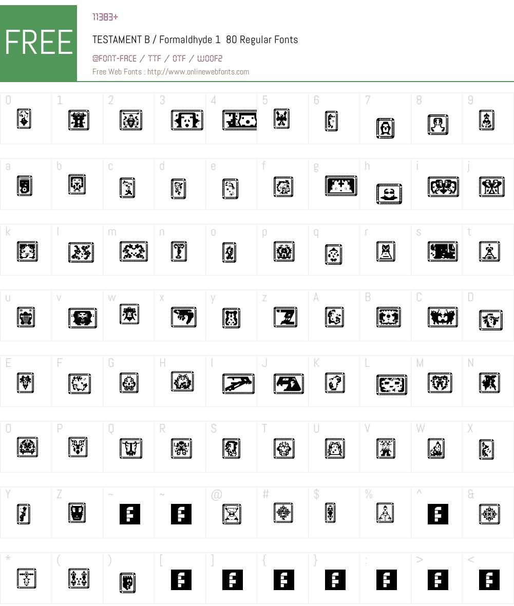 TESTAMENT B / Formaldhyde 1  80 Font Screenshots