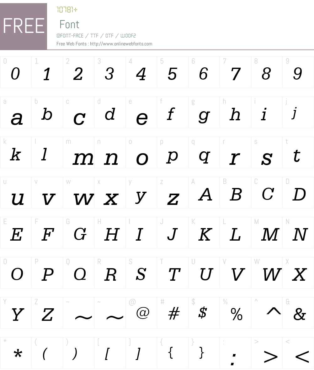 SerifaW01-Italic Font Screenshots