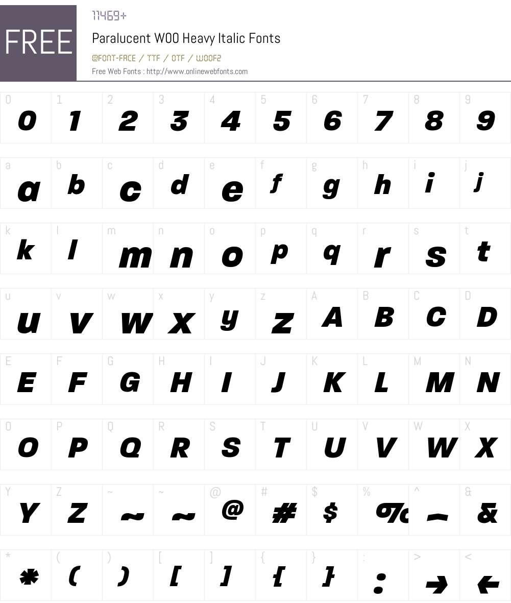 ParalucentW00-HeavyItalic Font Screenshots