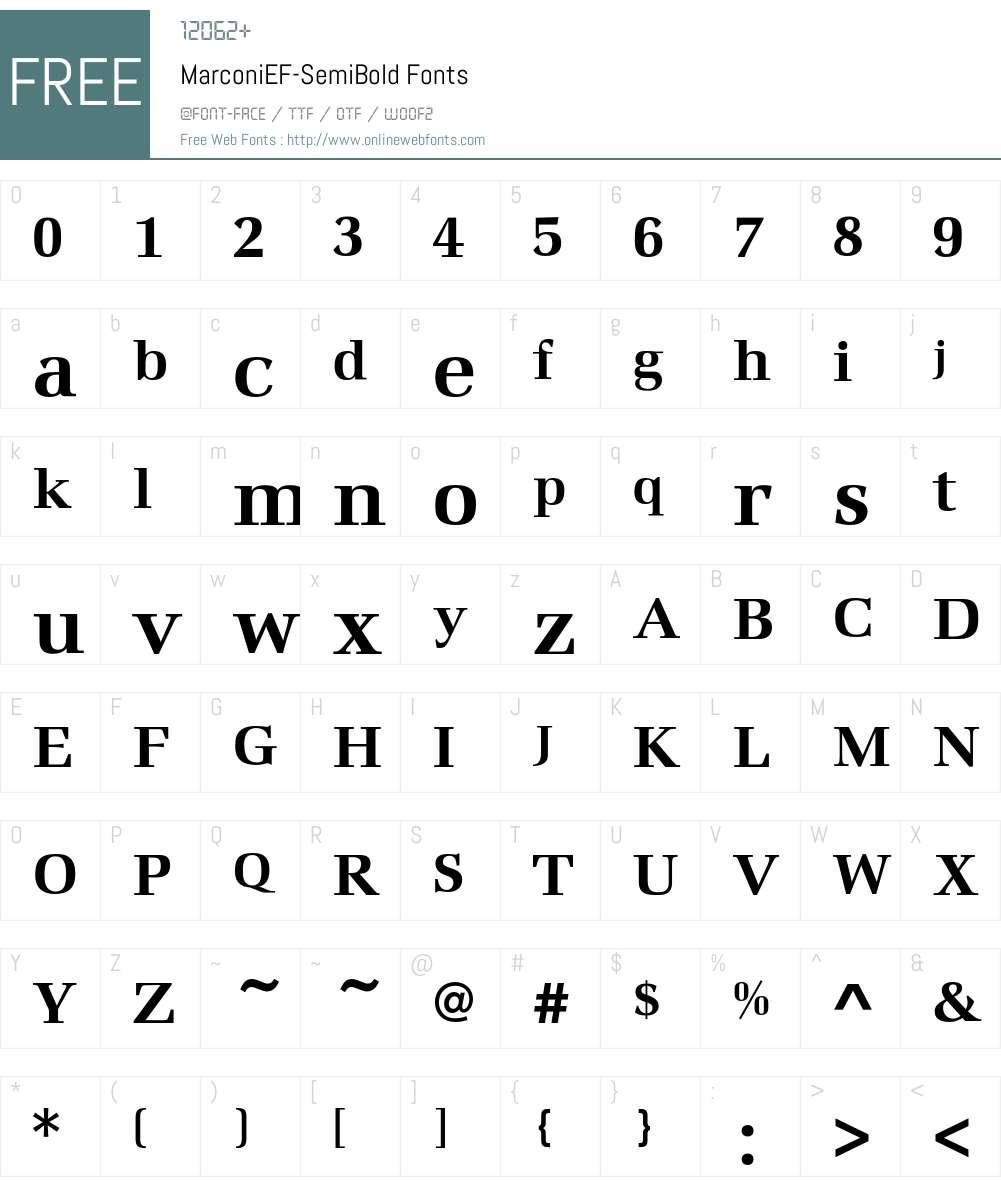 MarconiEF-SemiBold Font Screenshots