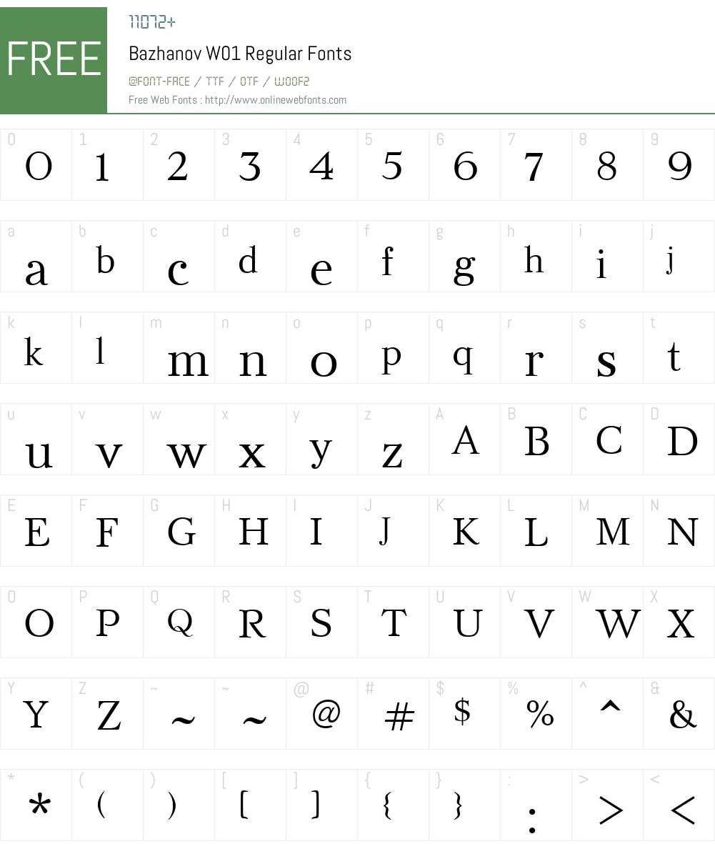BazhanovW01-Regular Font Screenshots