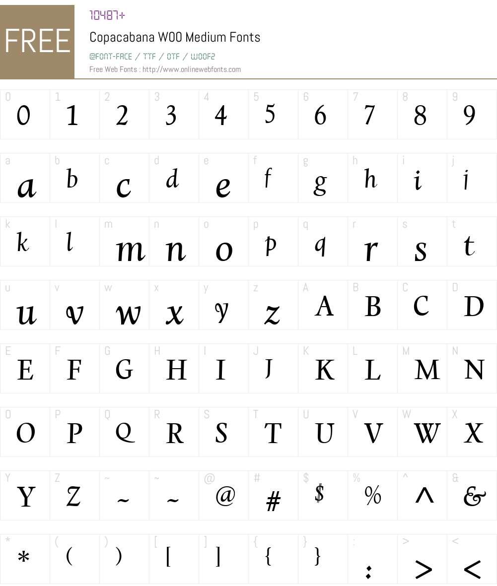 CopacabanaW00-Medium Font Screenshots