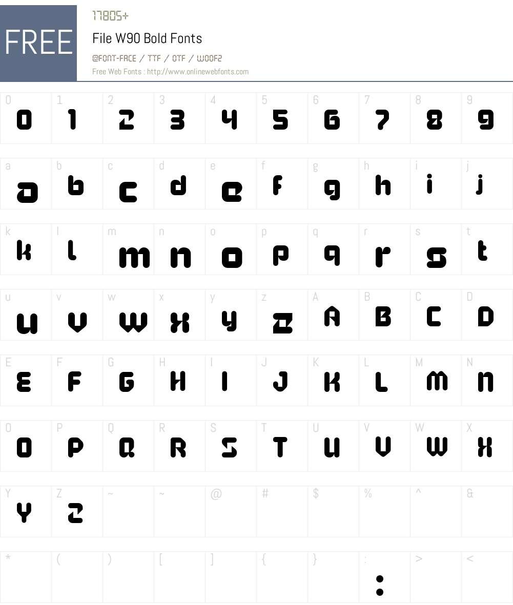FileW90-Bold Font Screenshots