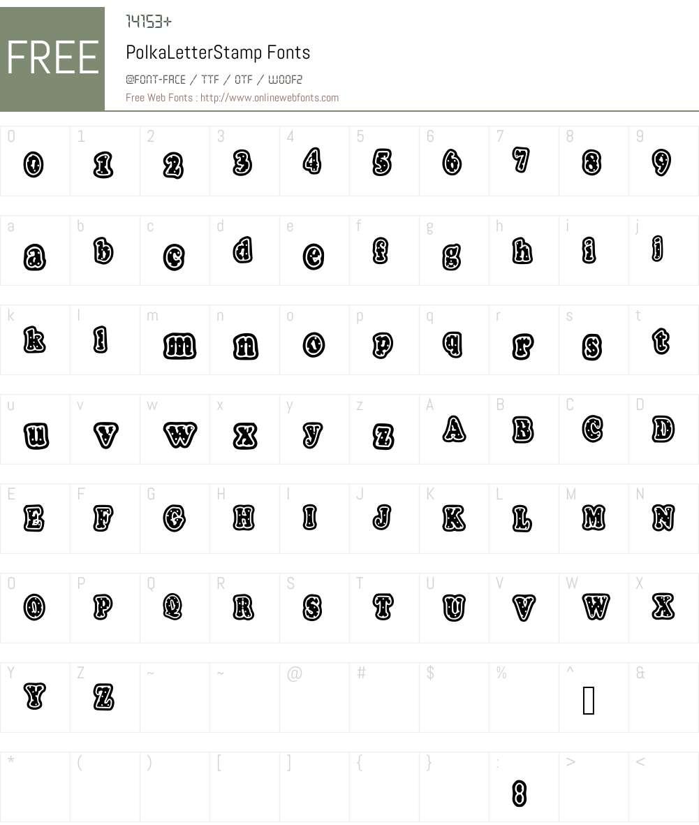 PolkaLetterStamp Font Screenshots
