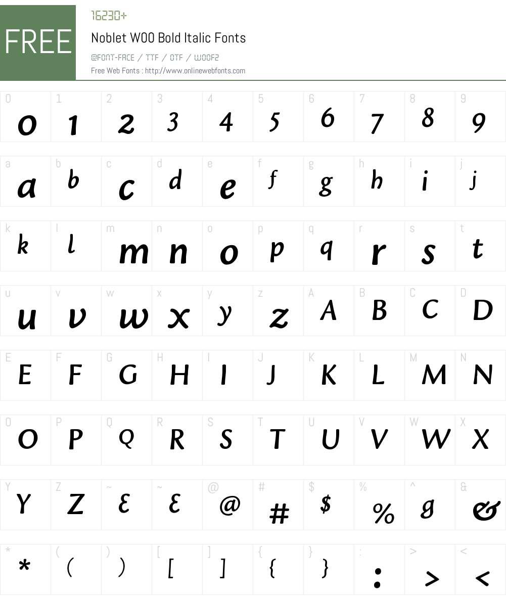 NobletW00-BoldItalic Font Screenshots