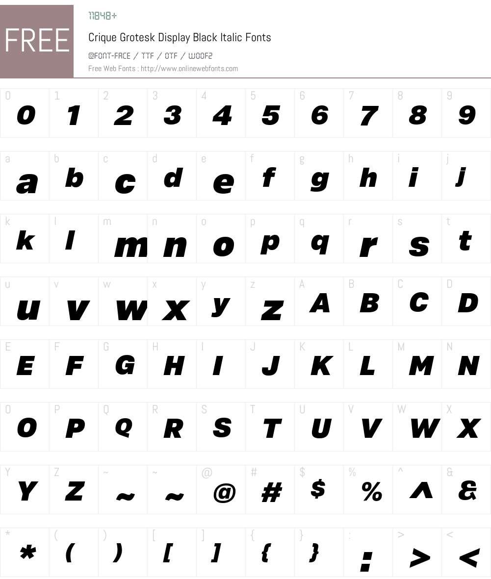 Crique Grotesk Display Font Screenshots