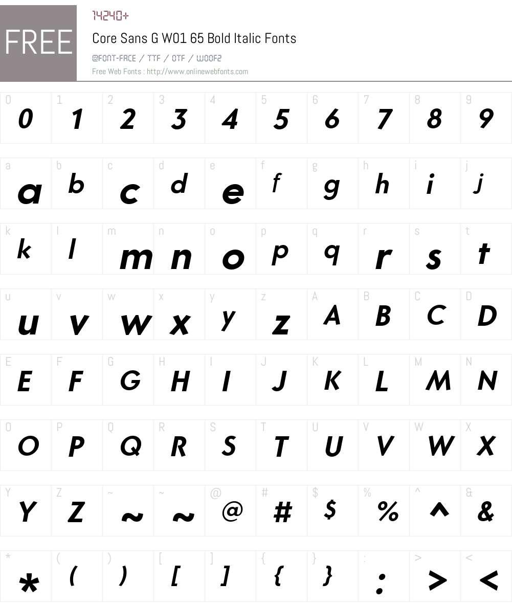 CoreSansGW01-65BoldItalic Font Screenshots
