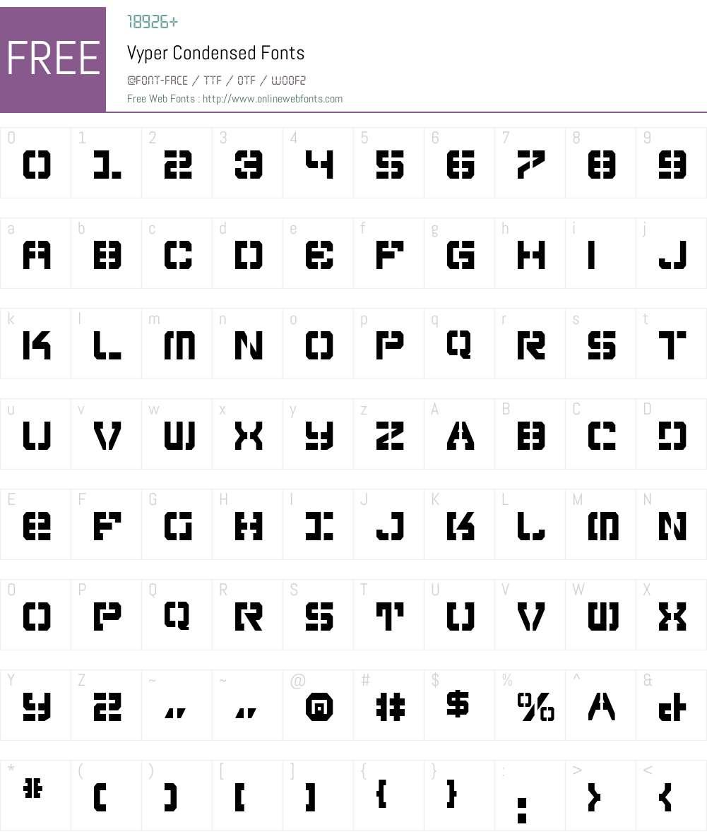Vyper Condensed Font Screenshots