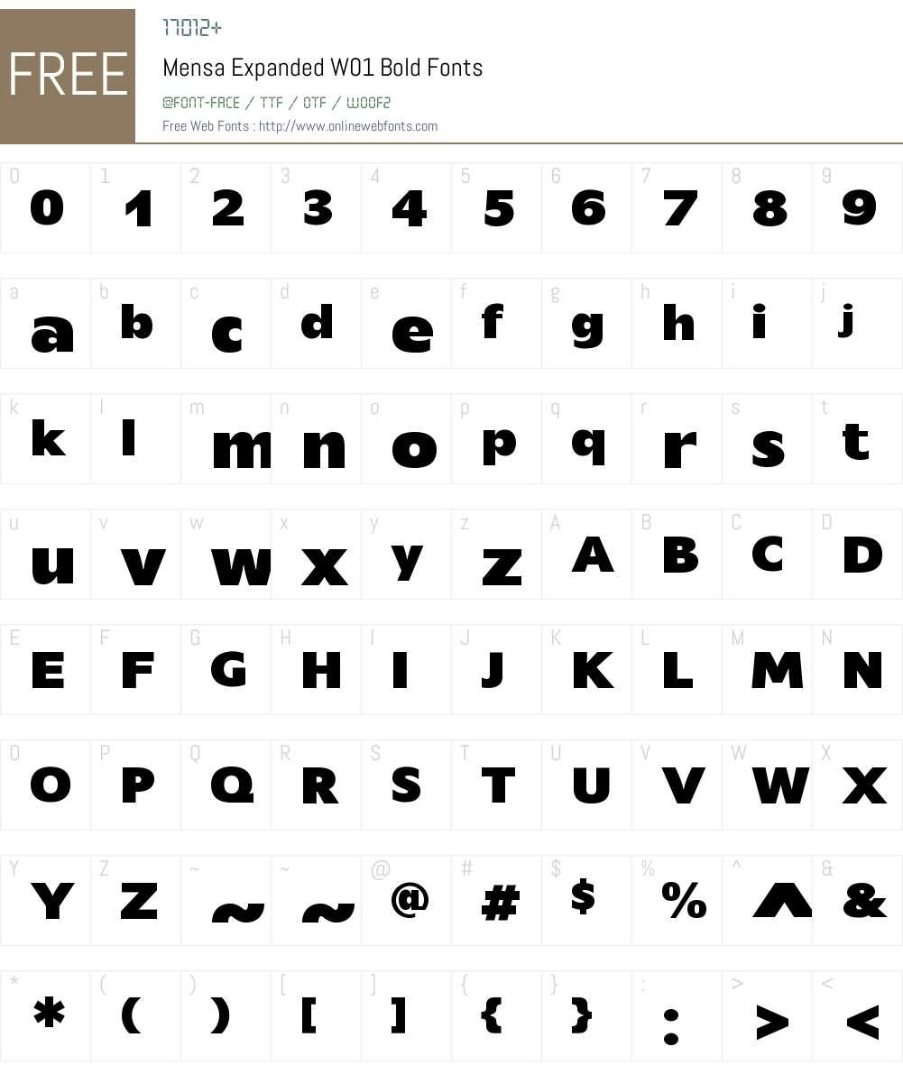 MensaExpandedW01-Bold Font Screenshots