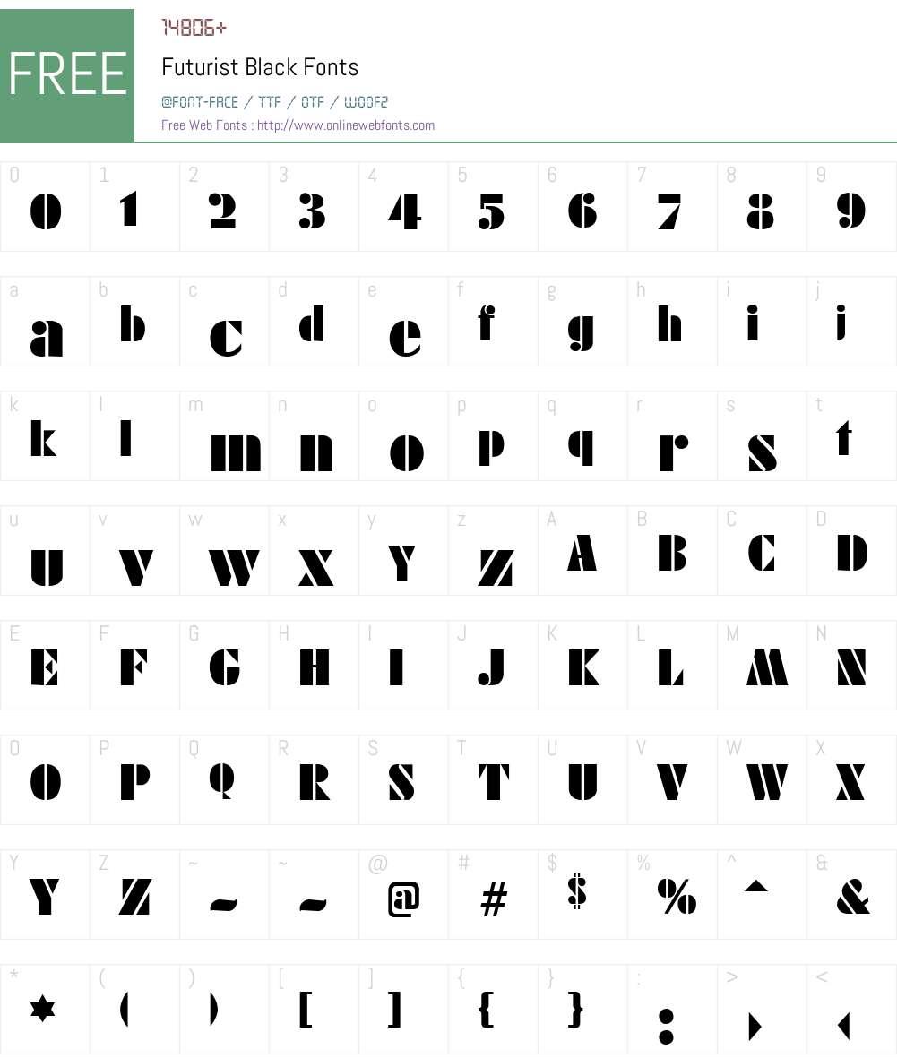 Futurist Black Font Screenshots