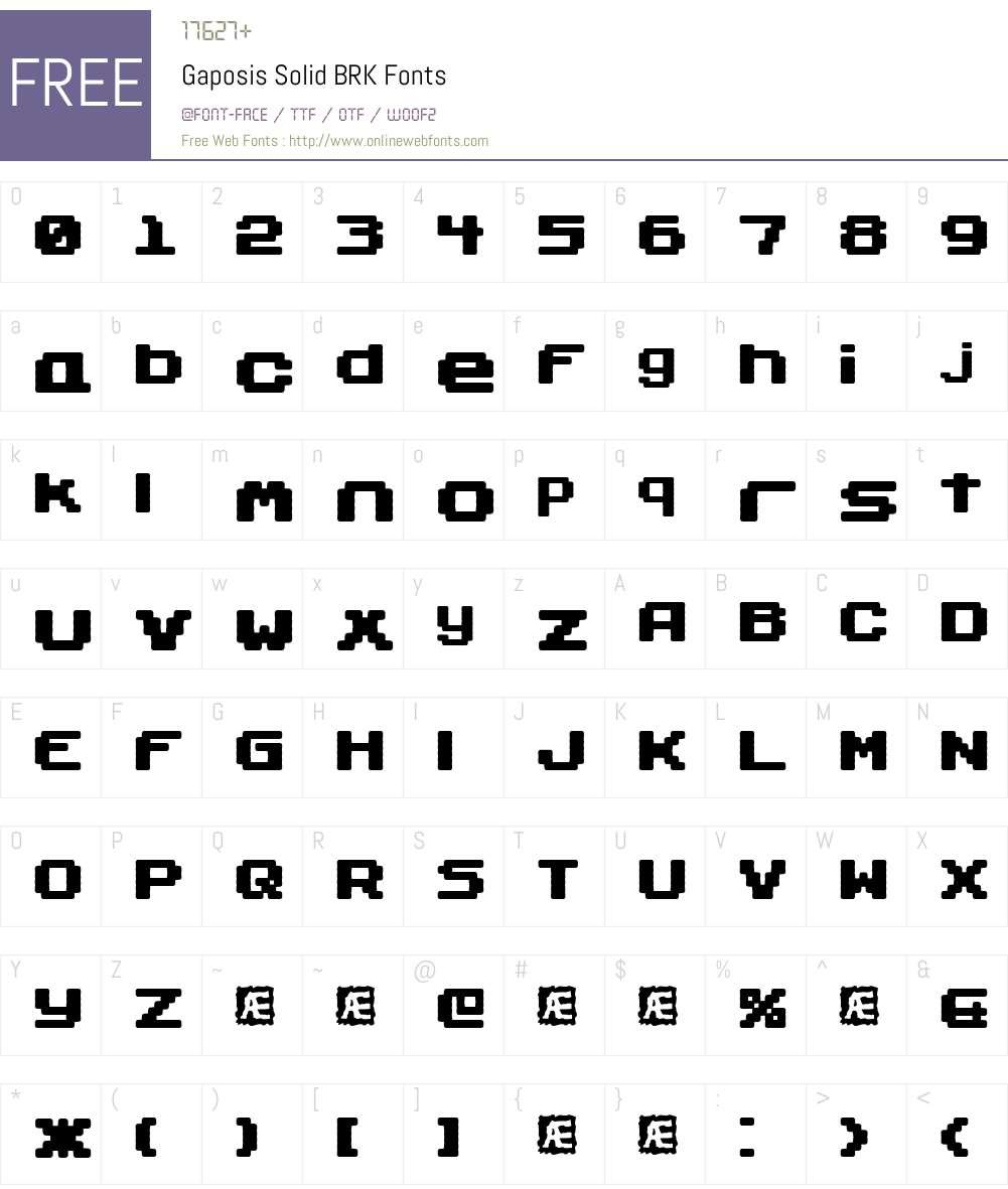 Gaposis Solid BRK Font Screenshots