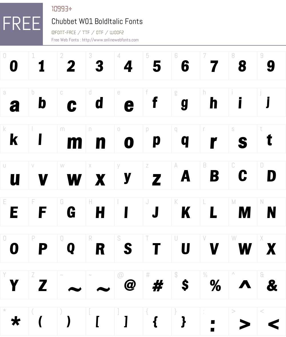 ChubbetW01-BoldItalic Font Screenshots