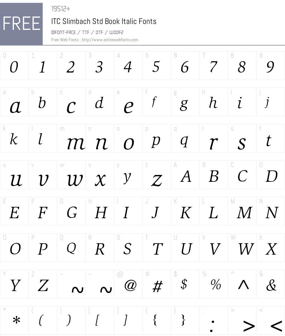 ITC Slimbach Std Font Screenshots
