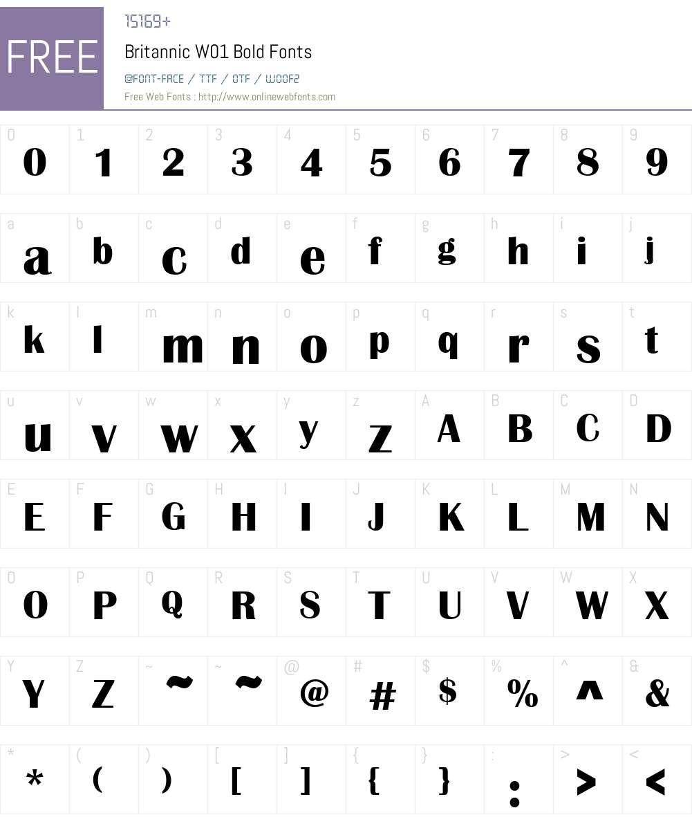 BritannicW01-Bold Font Screenshots