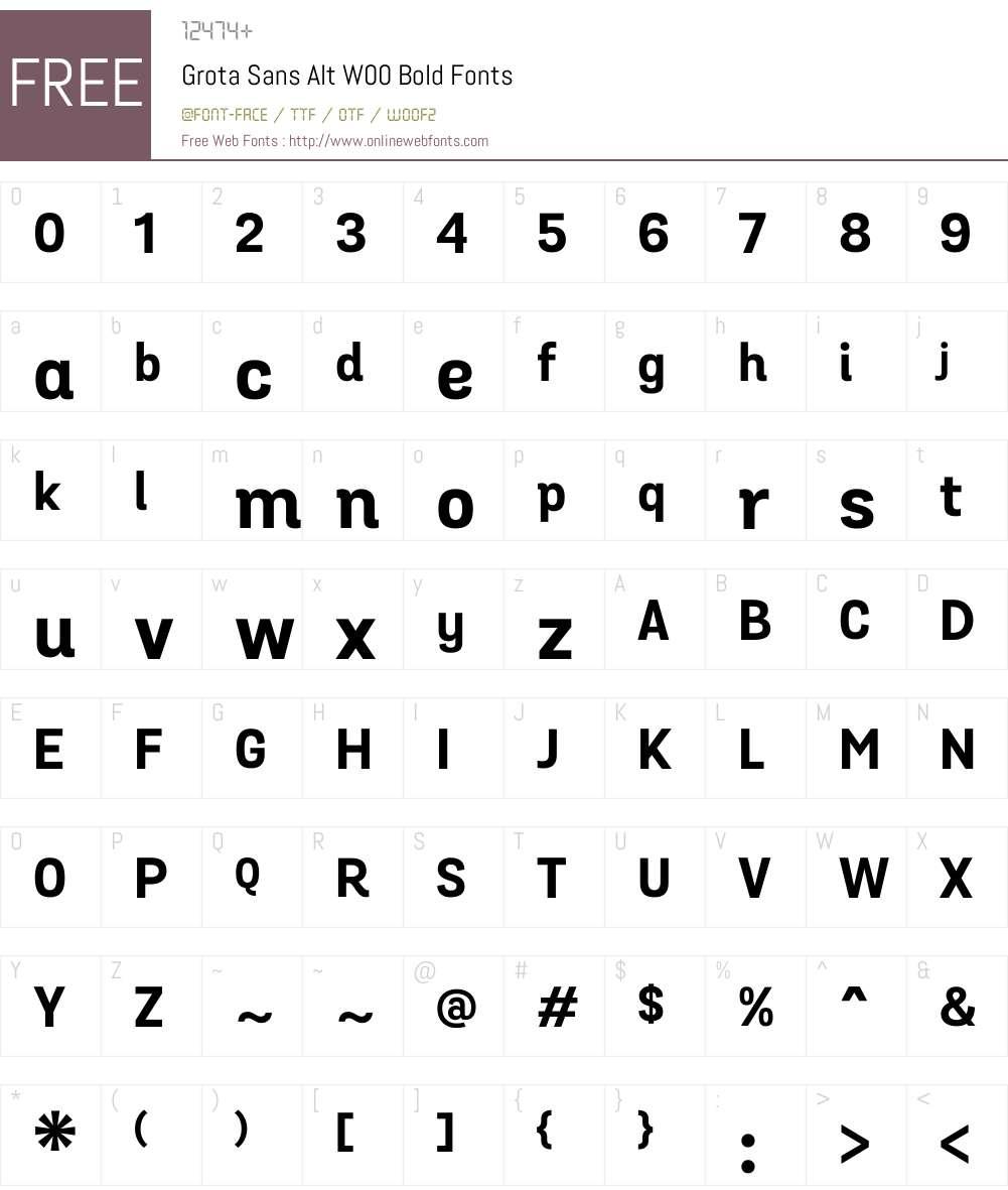 GrotaSansAltW00-Bold Font Screenshots