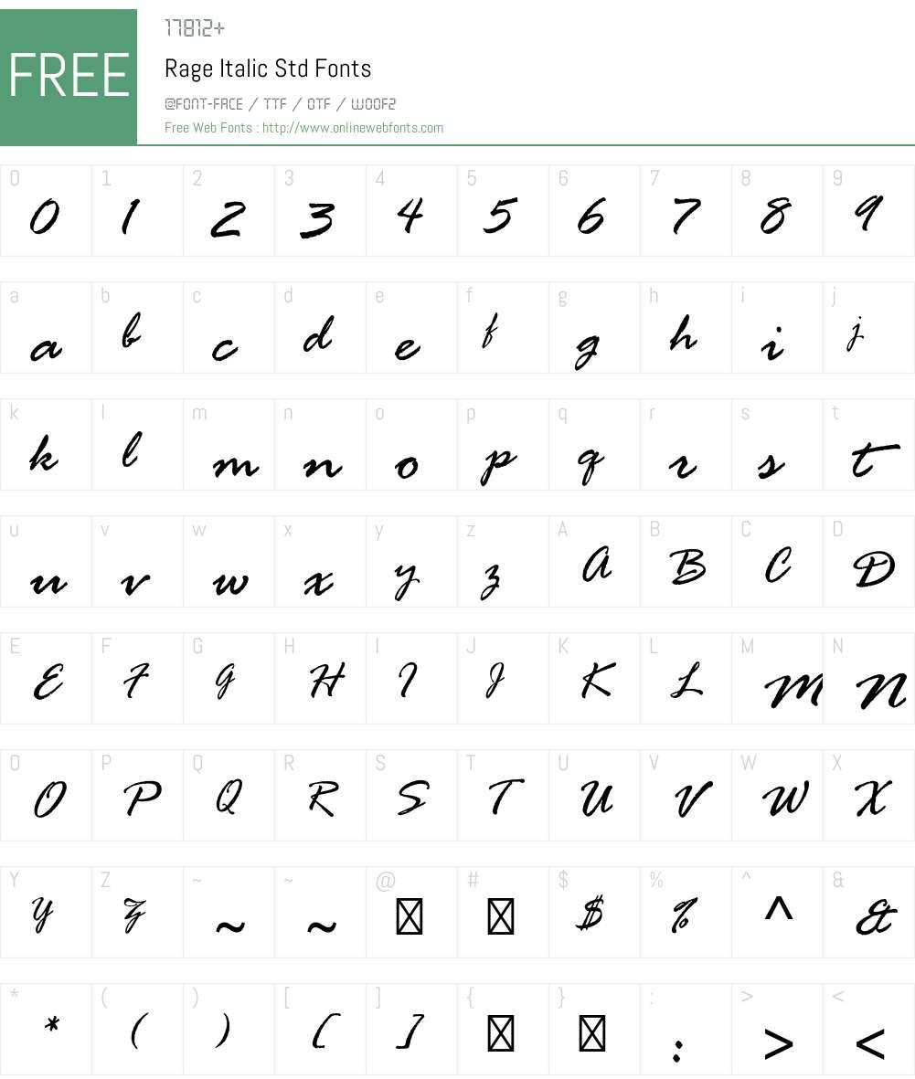 Rage Italic Std Font Screenshots
