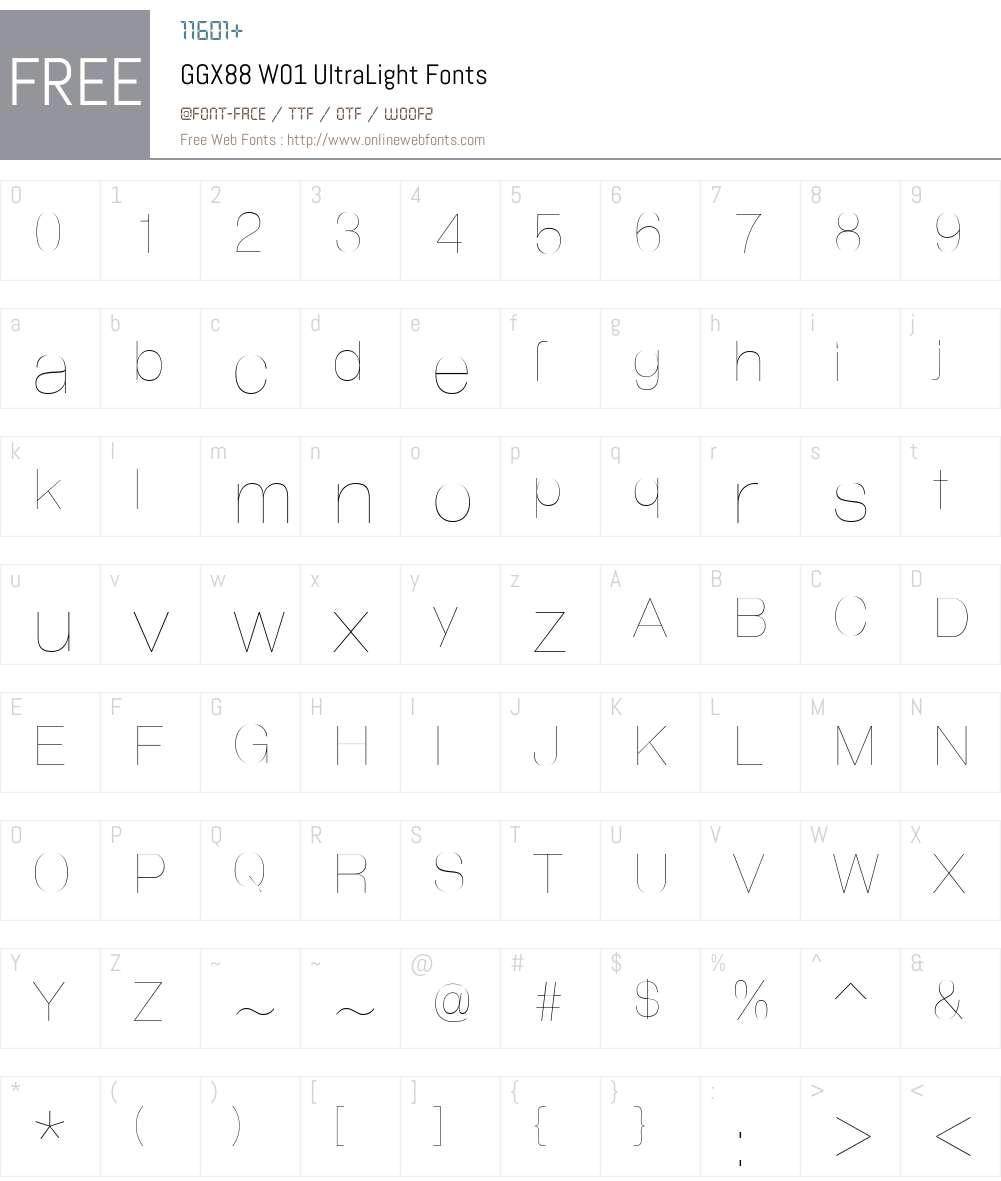 GGX88W01-UltraLight Font Screenshots