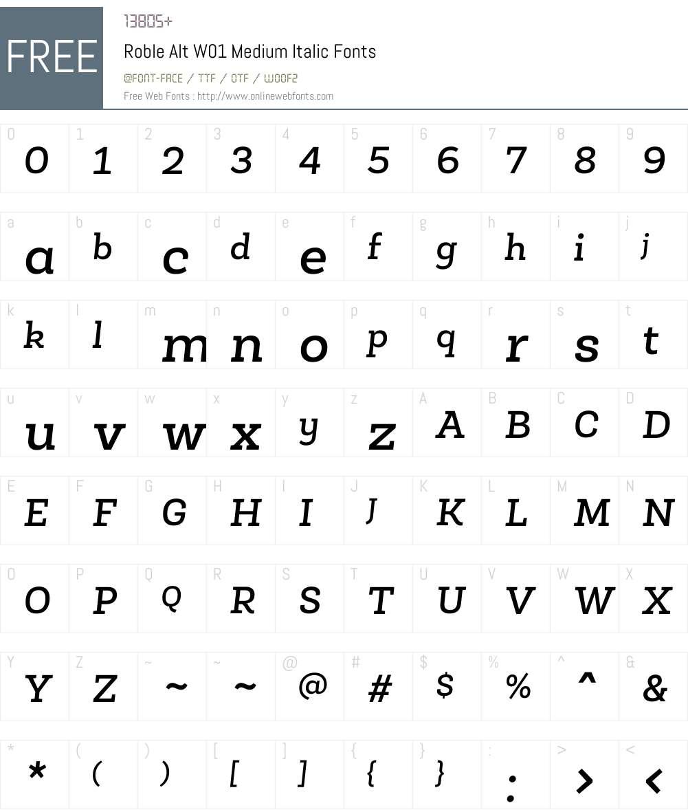 RobleAltW01-MediumItalic Font Screenshots