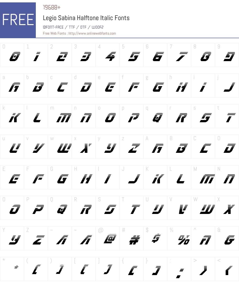 Legio Sabina Halftone Italic Font Screenshots