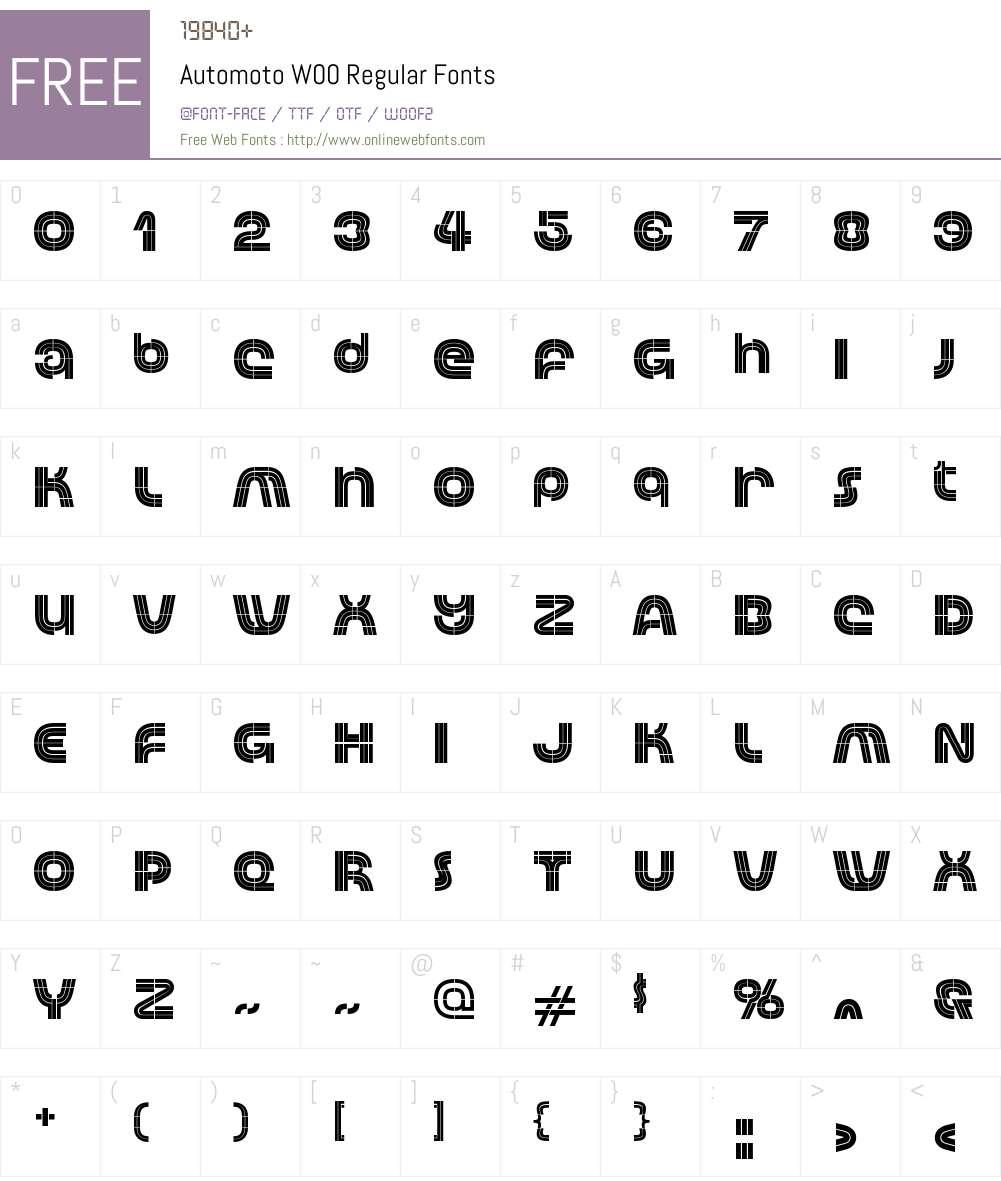 Automoto Font Screenshots
