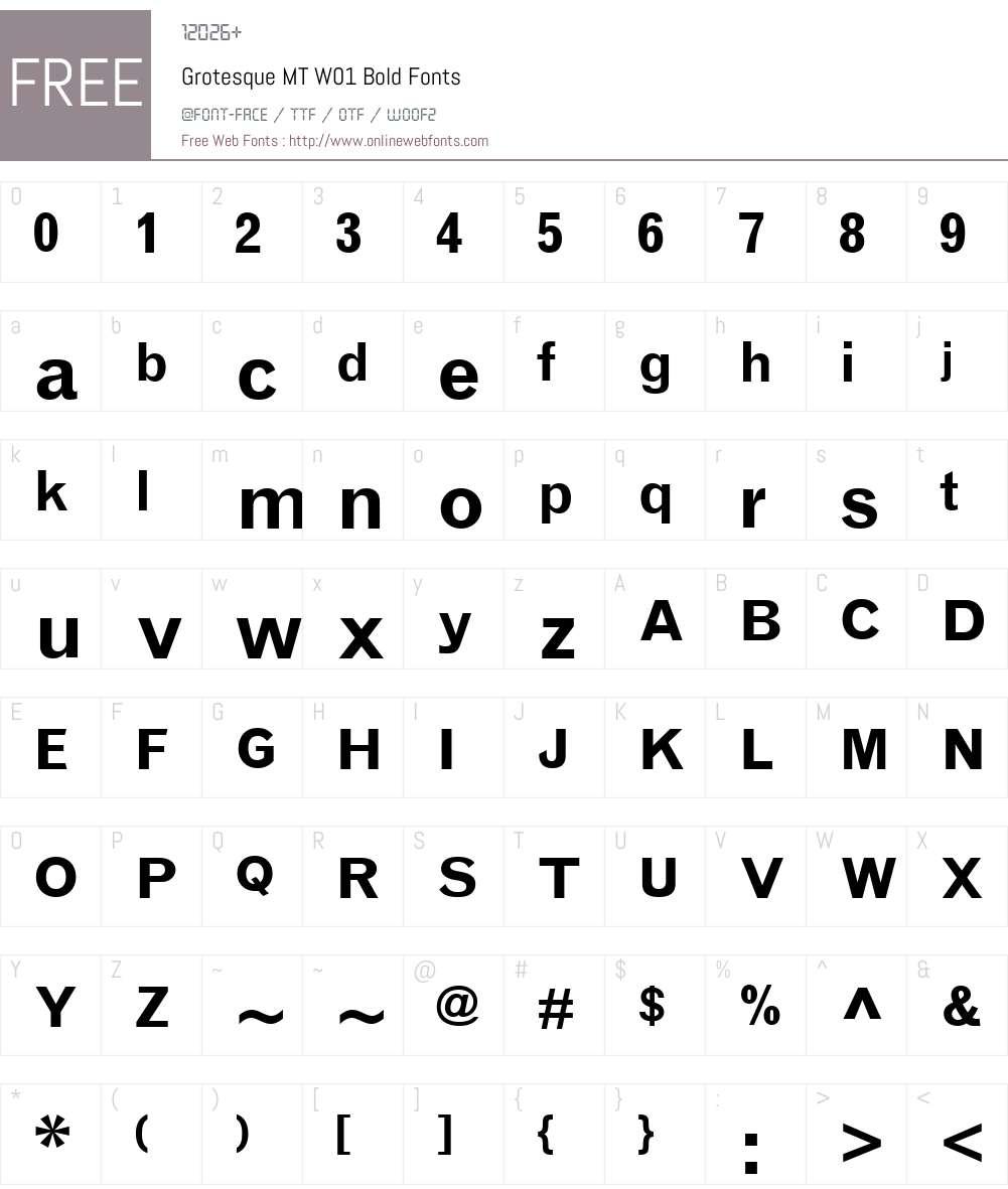 GrotesqueMTW01-Bold Font Screenshots