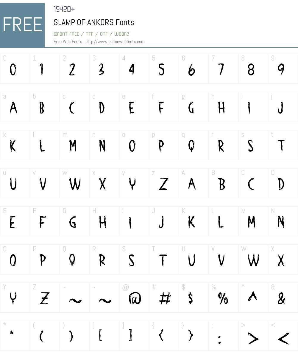 SLAMP OF ANKORS Font Screenshots
