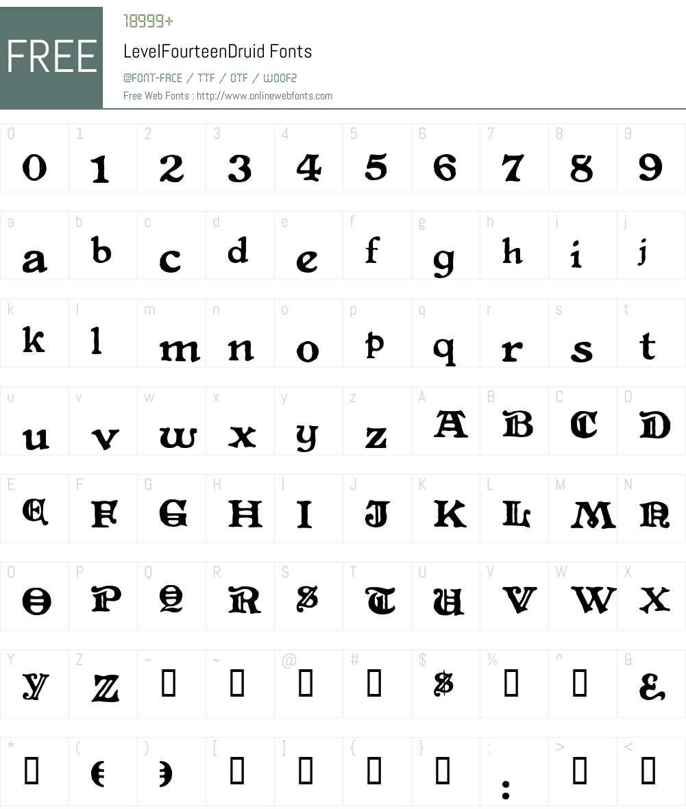 LevelFourteenDruid Font Screenshots
