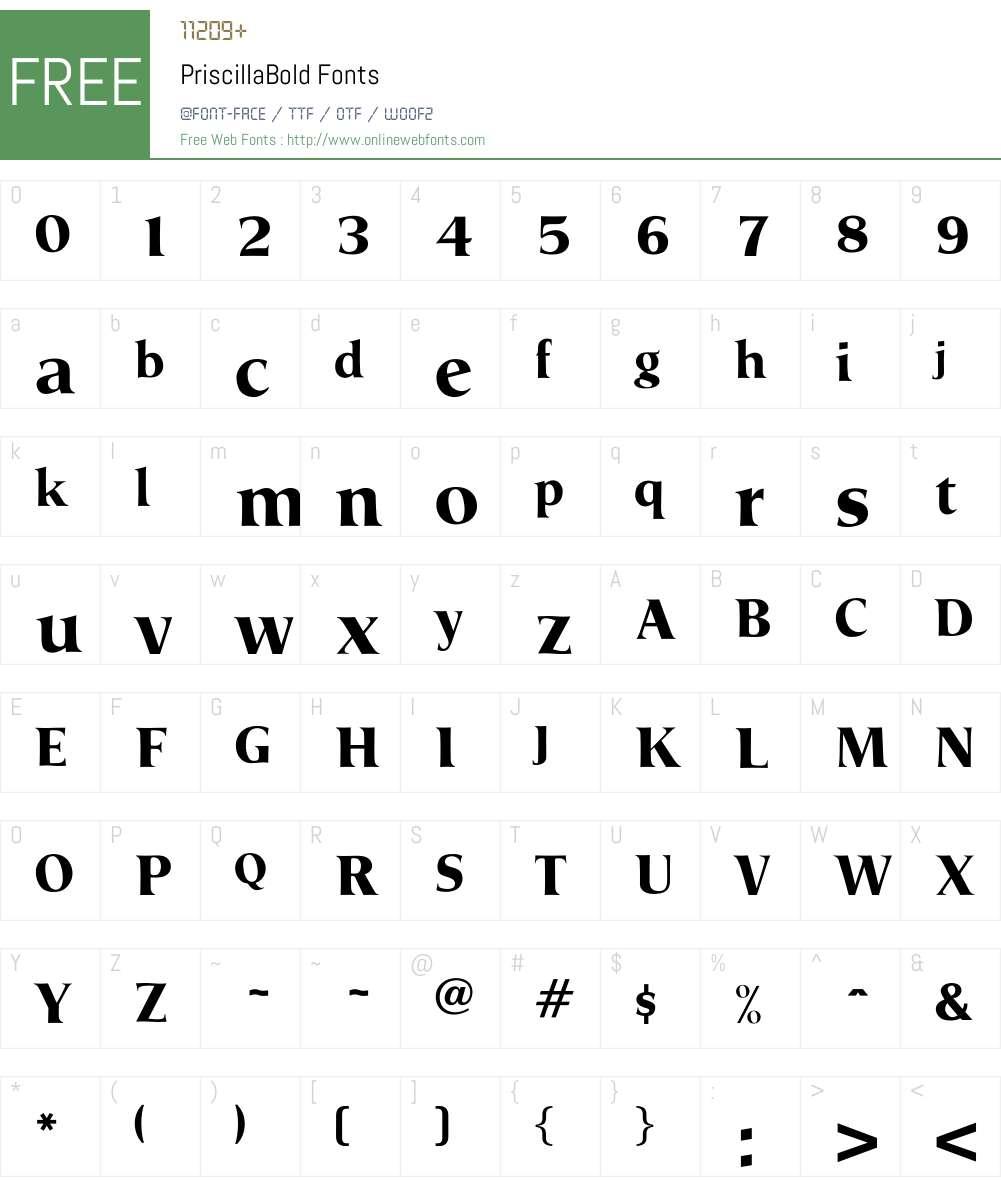 PriscillaBold Font Screenshots