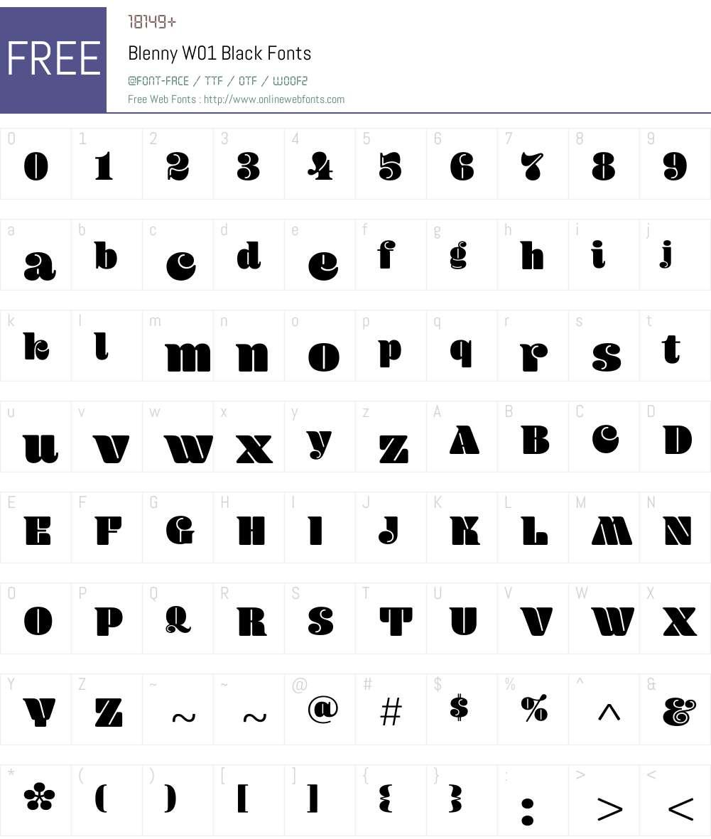 BlennyW01-Black Font Screenshots