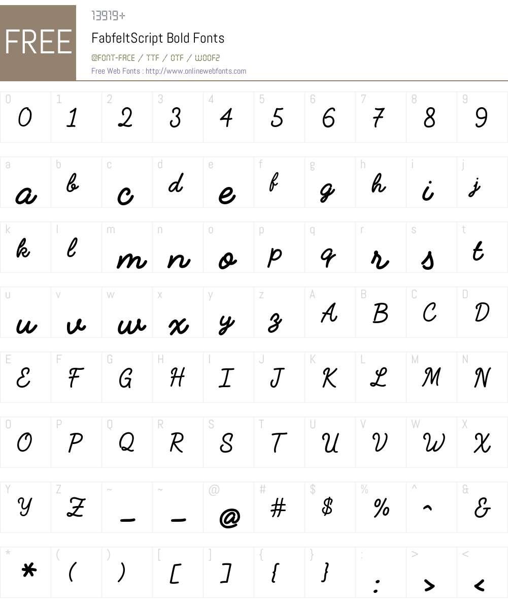 FabfeltScript Bold Font Screenshots