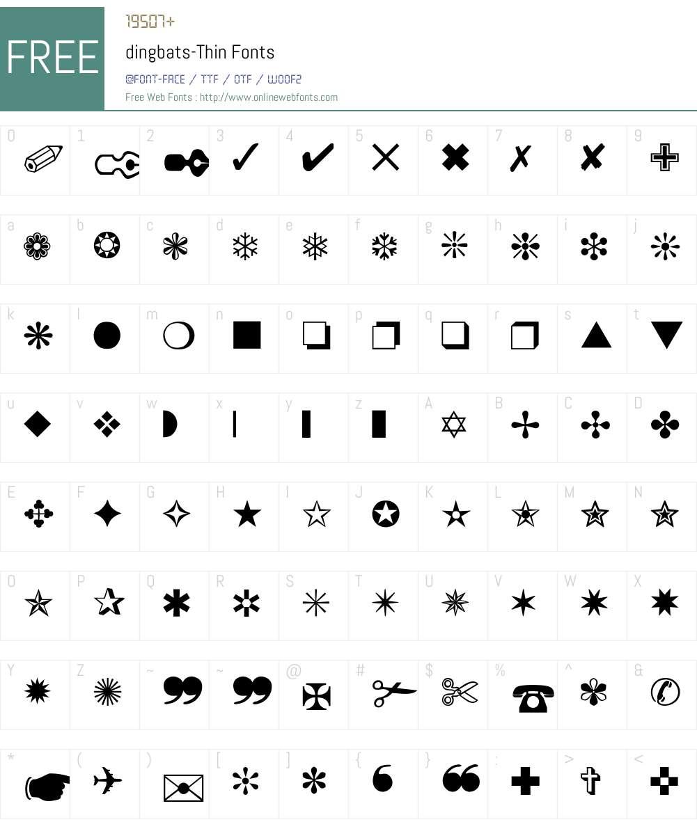 dingbats-Thin Font Screenshots
