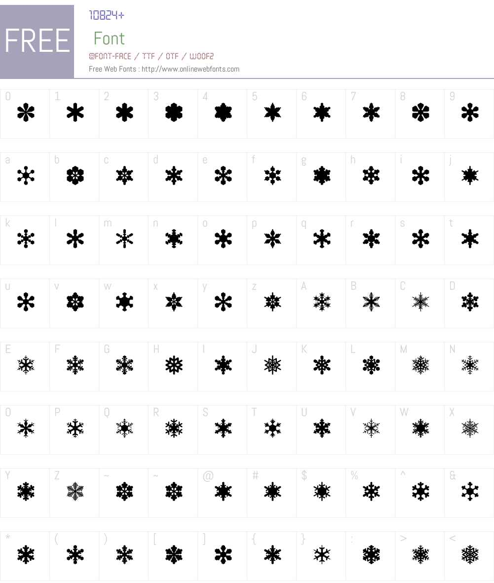 SnowflakeAssortment Font Screenshots