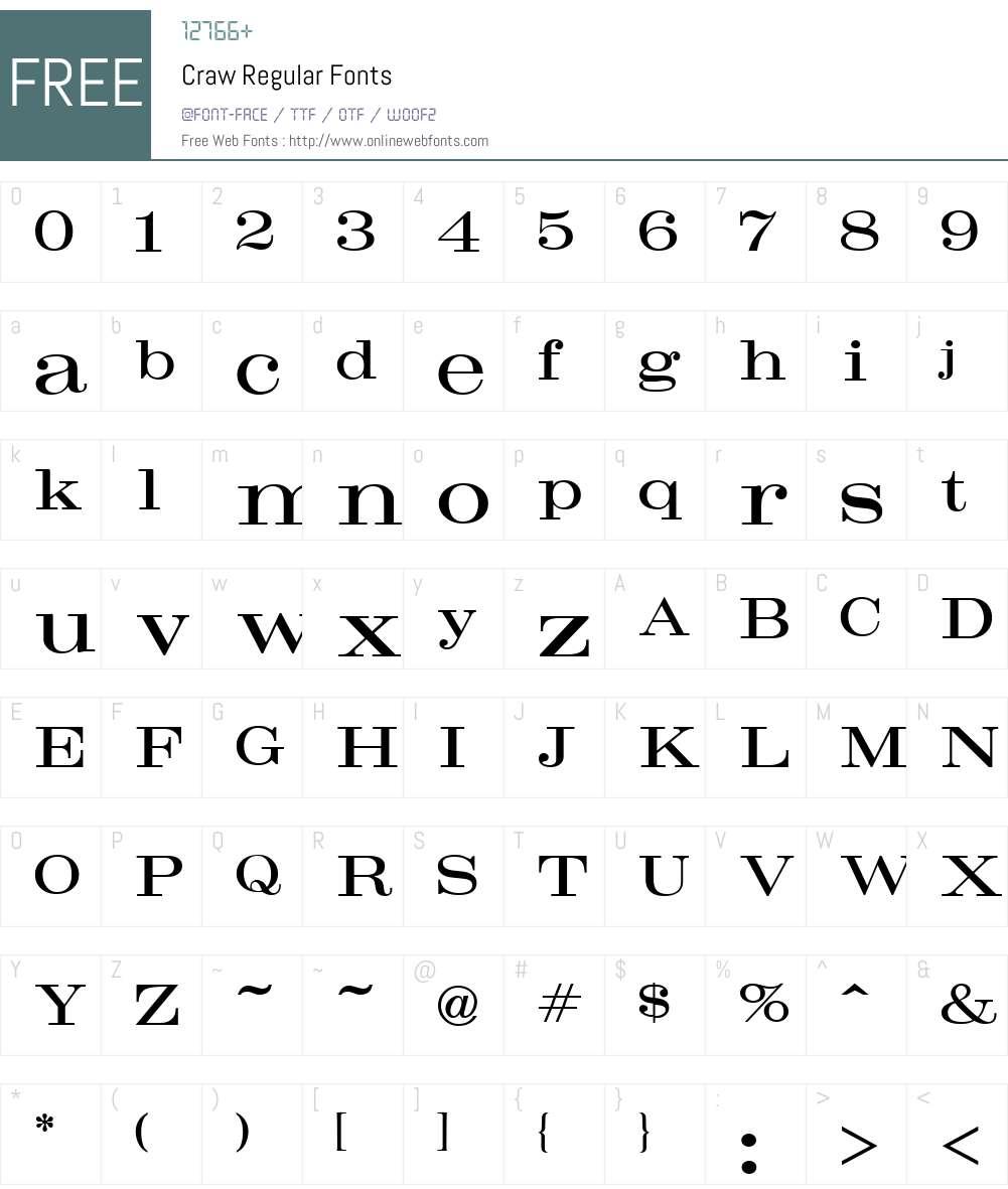 Craw Font Screenshots