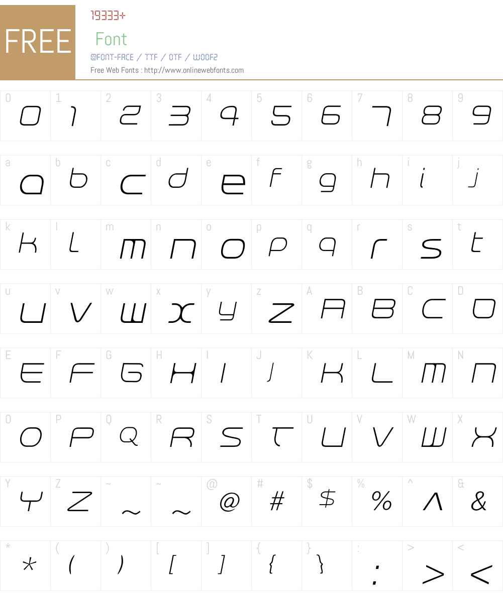 RendtPhysic Light Oblique Font Screenshots