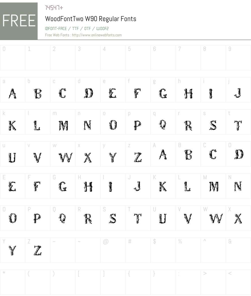 WoodFontTwoW90-Regular Font Screenshots