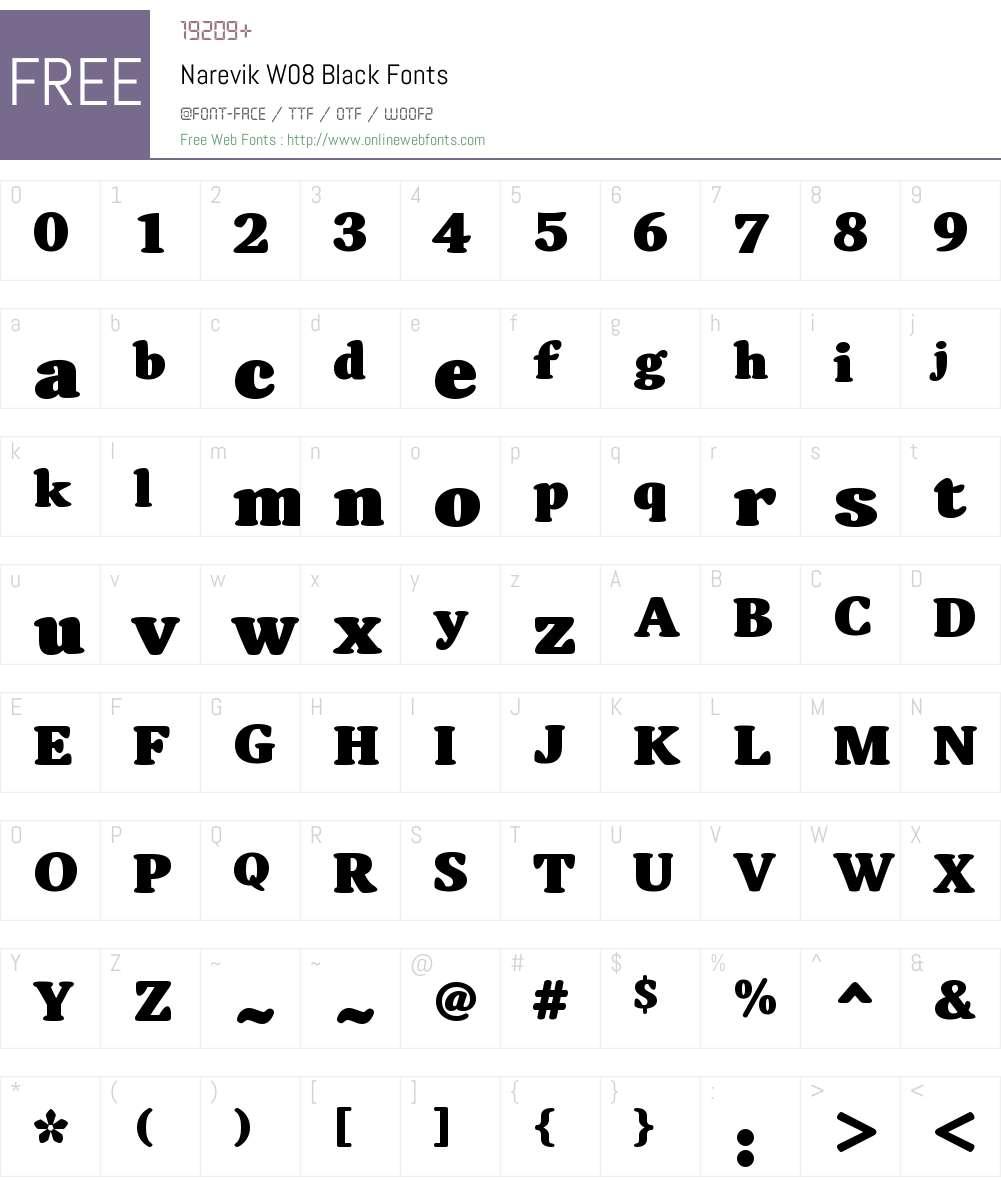 NarevikW08-Black Font Screenshots