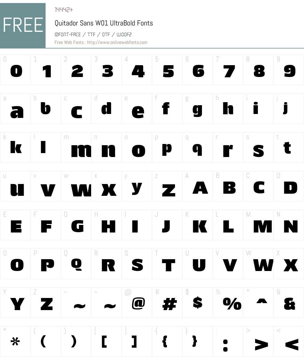 QuitadorSansW01-UltraBold Font Screenshots