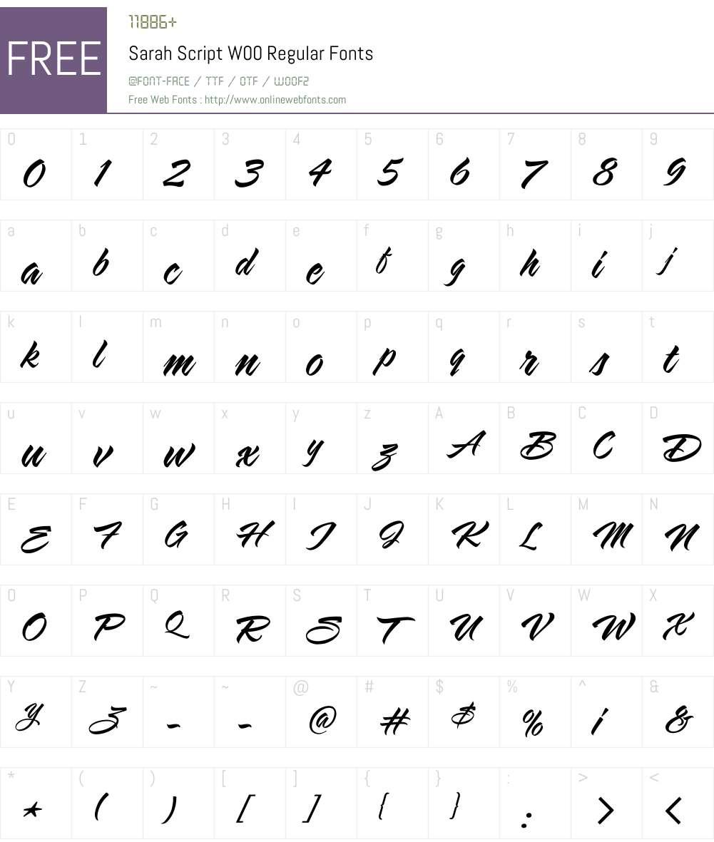 SarahScriptW00-Regular Font Screenshots