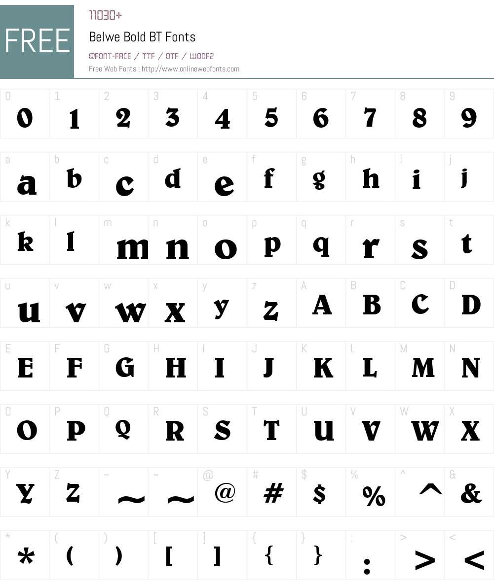 Belwe Bd BT Font Screenshots