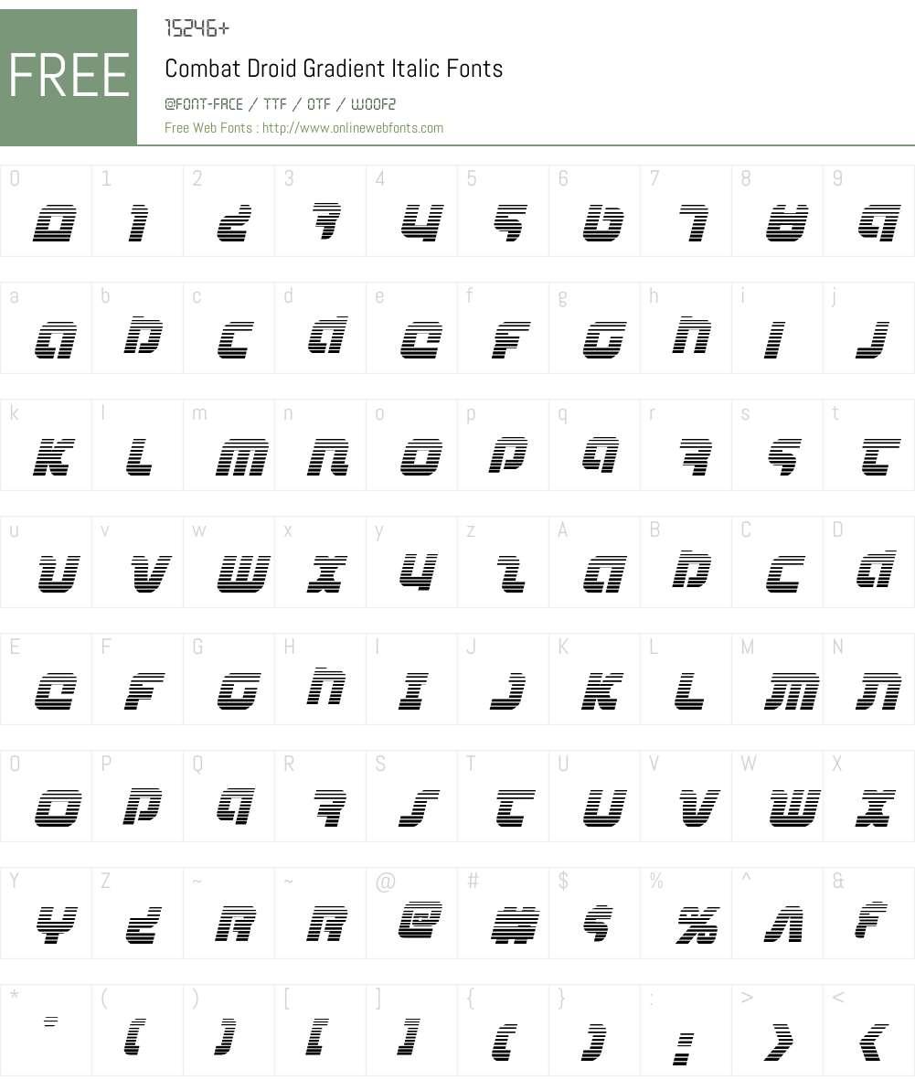 Combat Droid Gradient Italic Font Screenshots