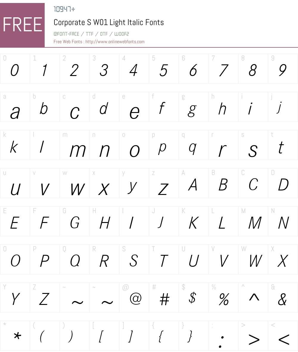 CorporateSW01-LightItalic Font Screenshots