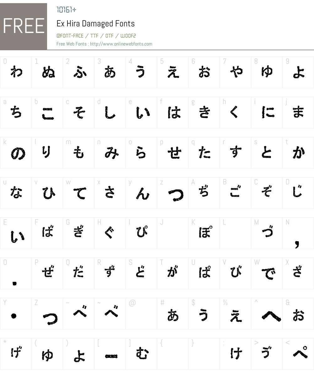 Ex Hira Damaged Font Screenshots