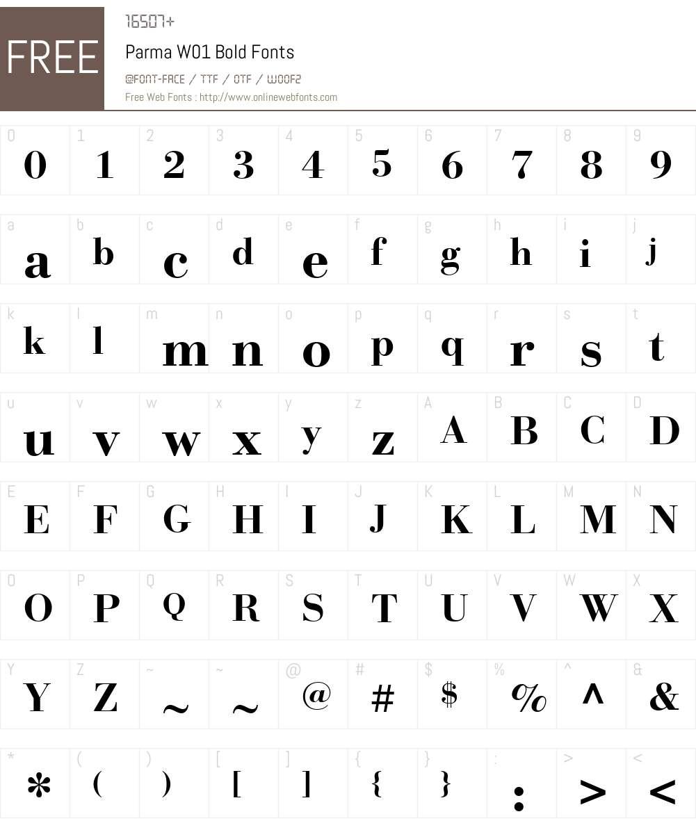 ParmaW01-Bold Font Screenshots