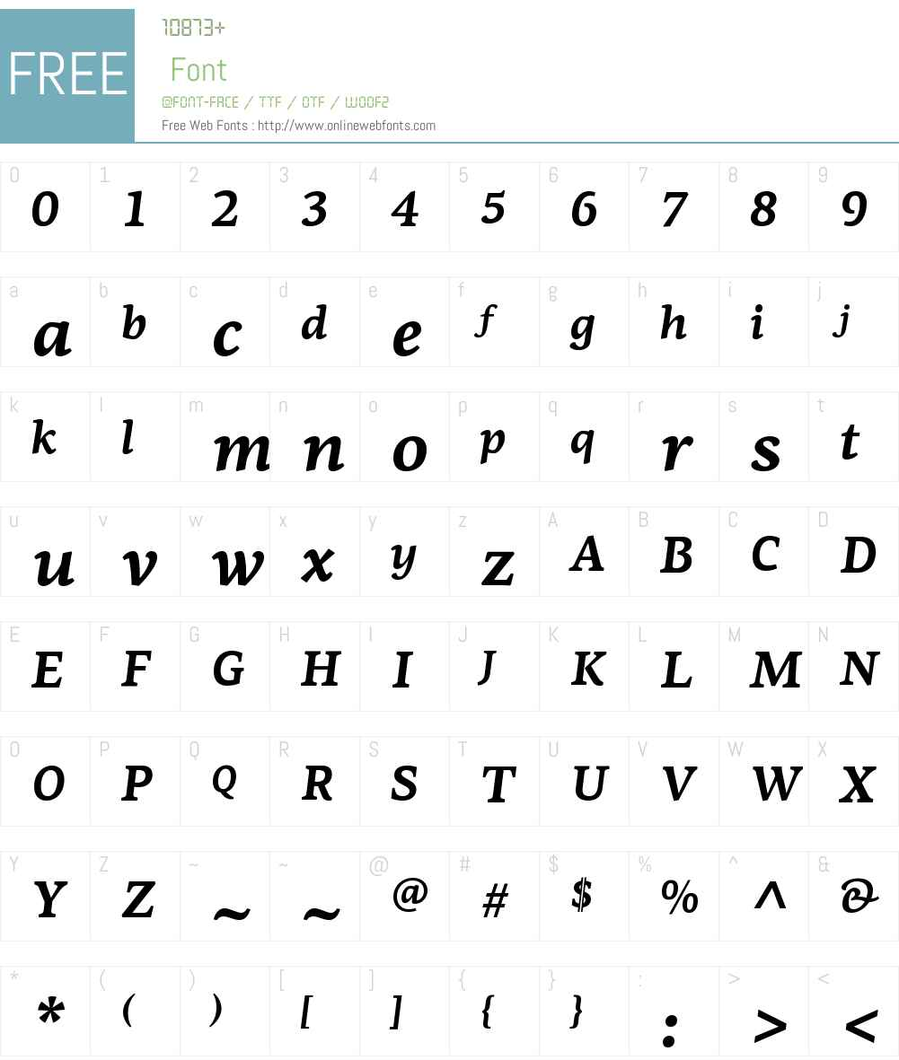 PFCentroSerifW01-BoldItalic Font Screenshots